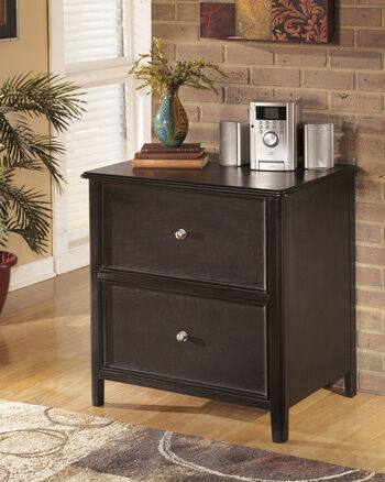 Two Drawer Contemporary Lateral File Cabinet In Black Two Drawer  Contemporary Lateral File Cabinet In Black