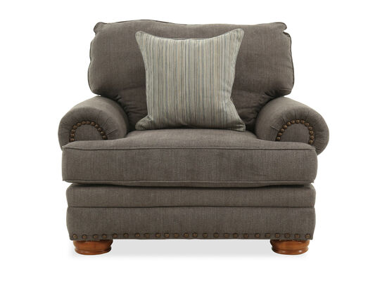 """Nailhead-Accented Contemporary 48"""" Chair in Gray"""