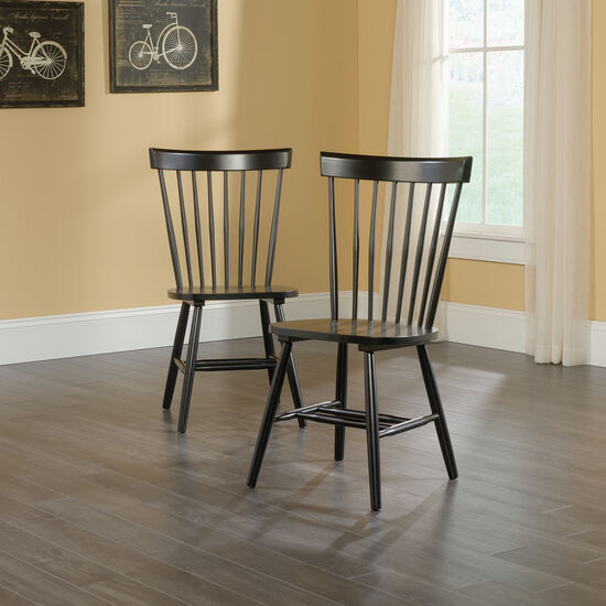 Two-Piece Solid Wood 36'' Spindle Chair Set in Black