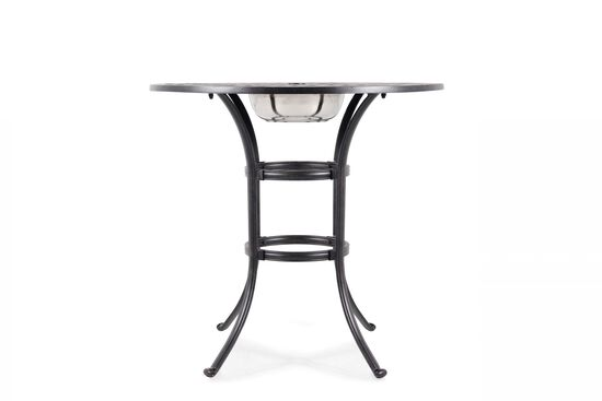 Lattice Patterned Aluminum Round Bar Table in Black