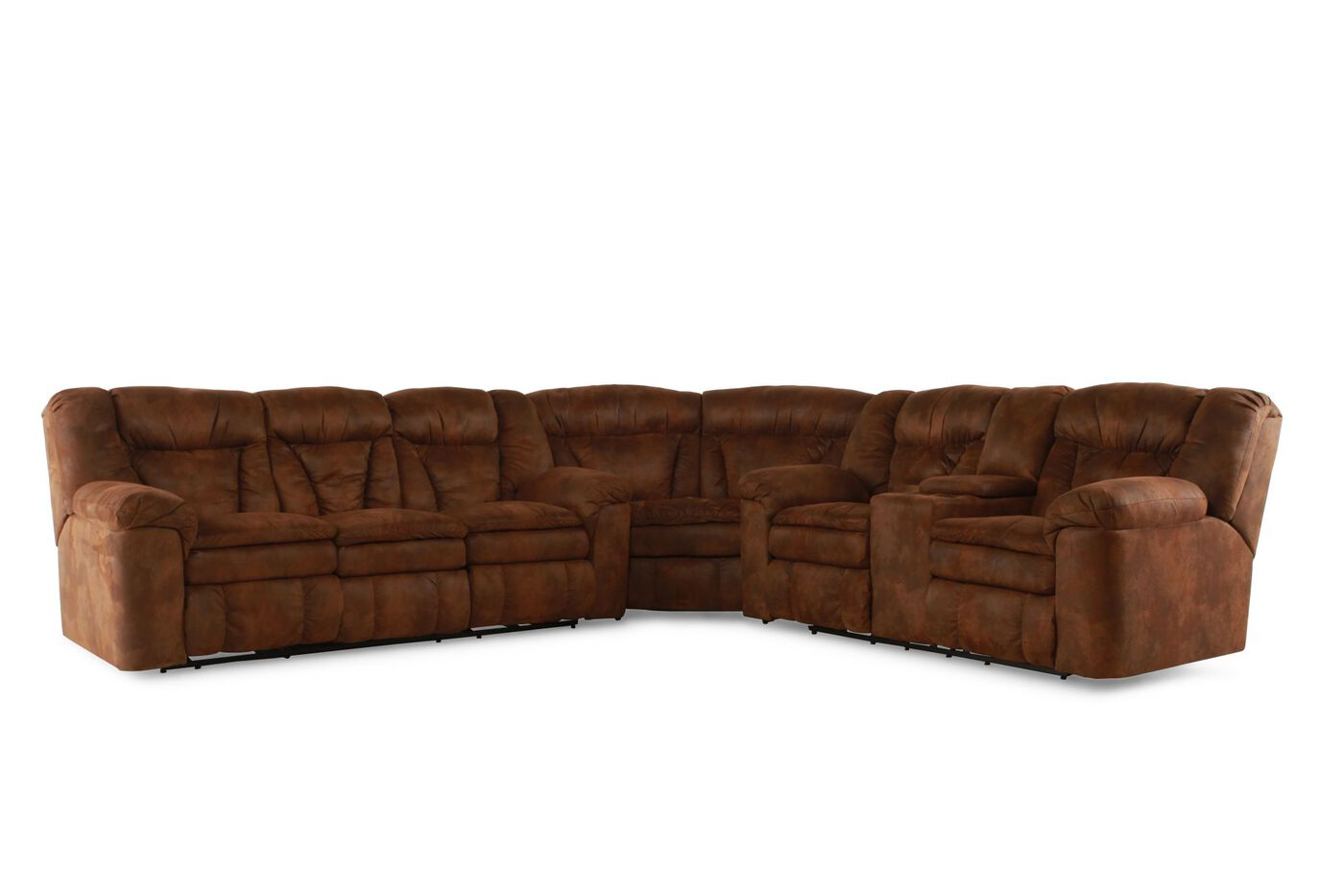 Three piece microfiber 138quot sectional in coffee mathis for 3 piece microfiber recliner sectional sofa