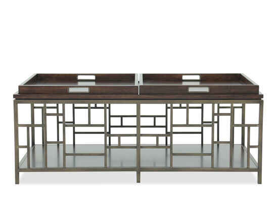 Rectangular Fretwork Contemporary Cocktail Table in Bronze