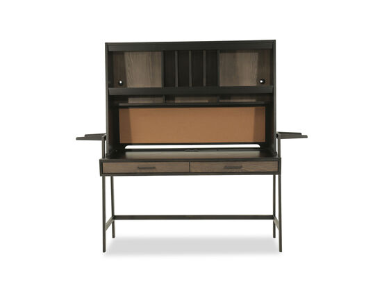 Four-Cubby Contemporary Hutch in Dark Brown