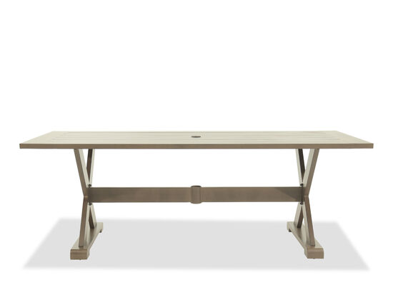 Planked Table Top Rectangular Dining Table in Dark Brown