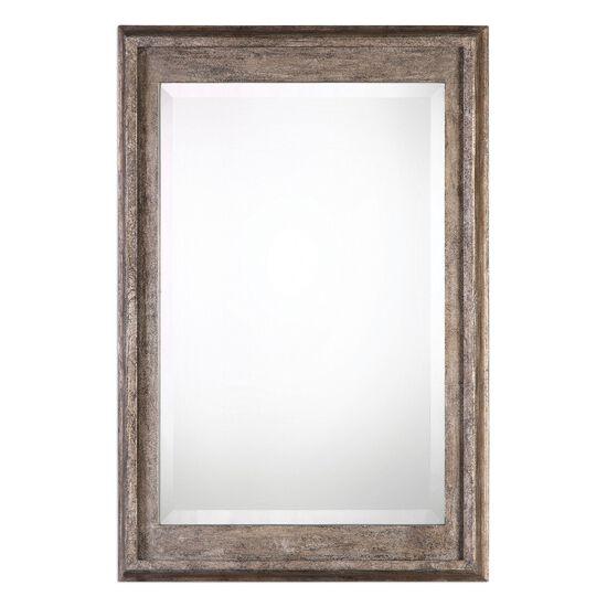 37'' Solid Wood Frame Mirror in Burnished Silver Leaf
