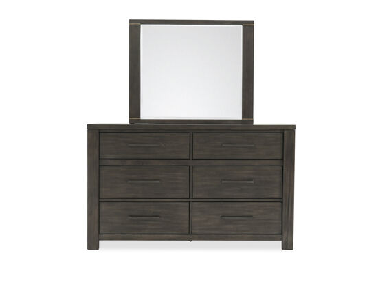 Two-Piece Weathered Dresser and Mirror in Dark Gray