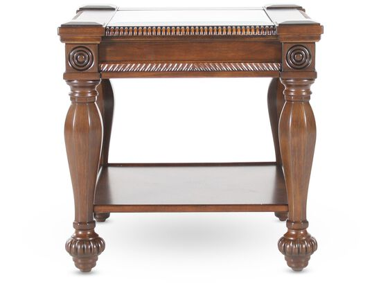 Square Carved Traditional End Table in Medium Brown