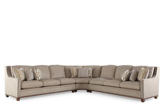 "Traditional 256"" Nailhead Trimmed Sectional in Sandstone Brown"