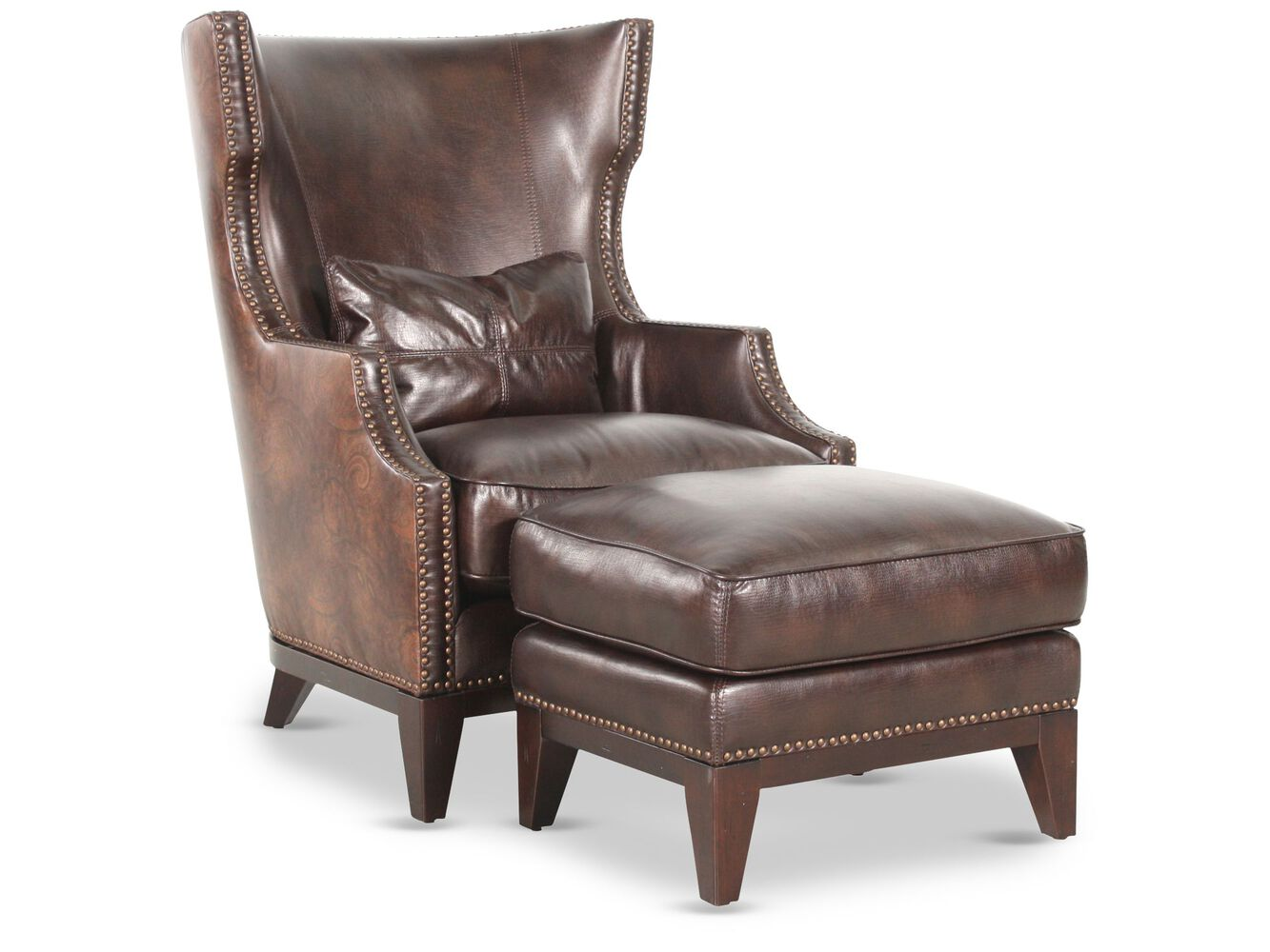 "Nailhead-Accented Leather 34"" Chair with Ottoman in Brown ..."