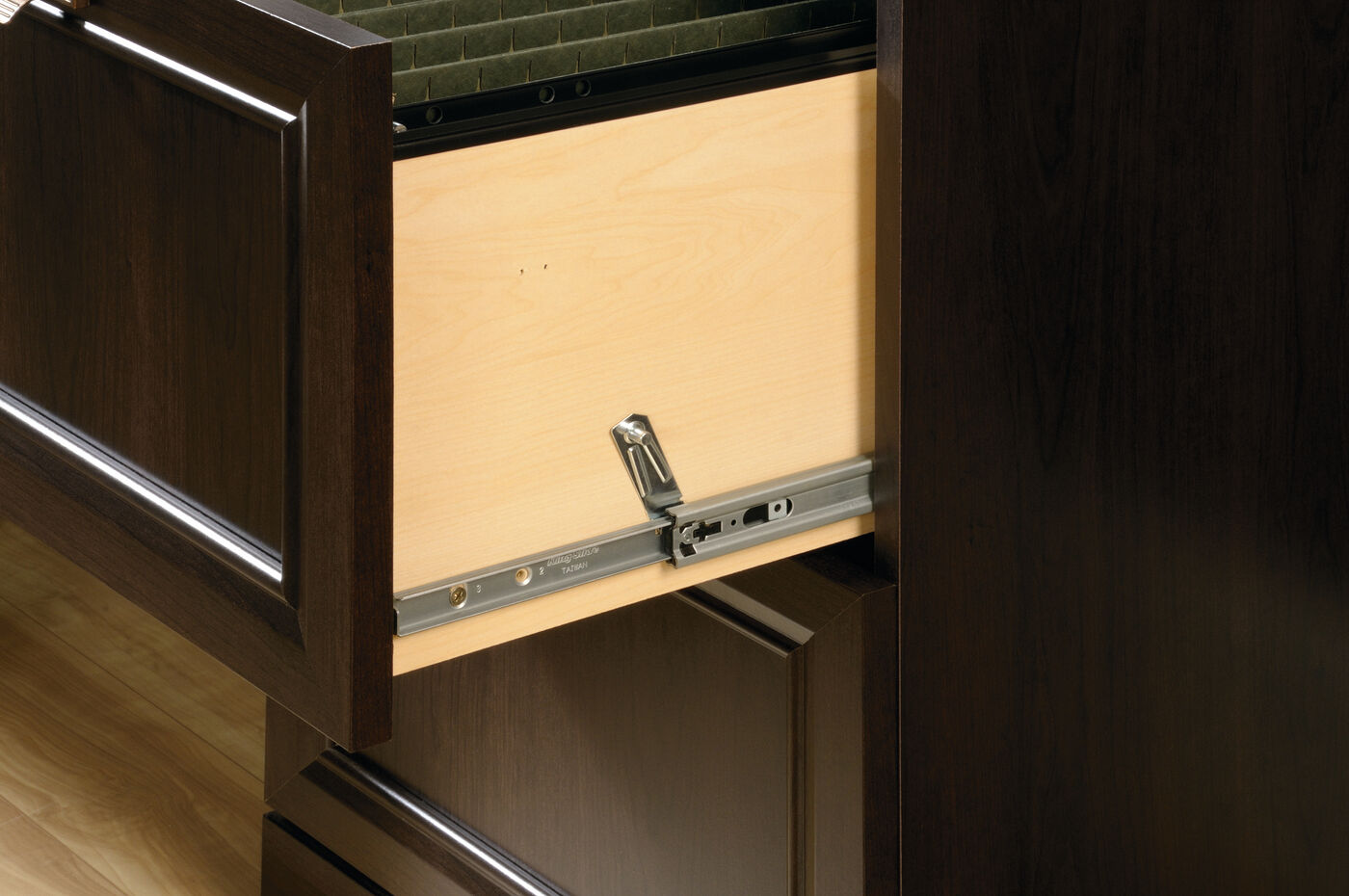Four drawer contemporary file cabinet in cinnamon cherry for Cinnamon cherry kitchen cabinets