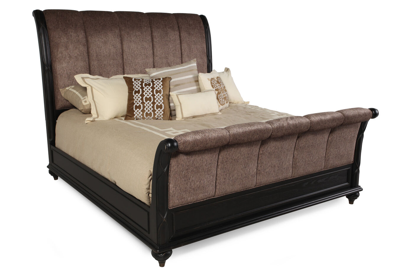 67 Channel Tufted Microfiber Sleigh Bed In Brown Mathis Brothers Furniture