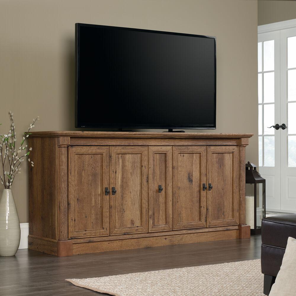 Solid Wood Tv Credenza: Four Door Solid Wood Credenza In Vintage Oak