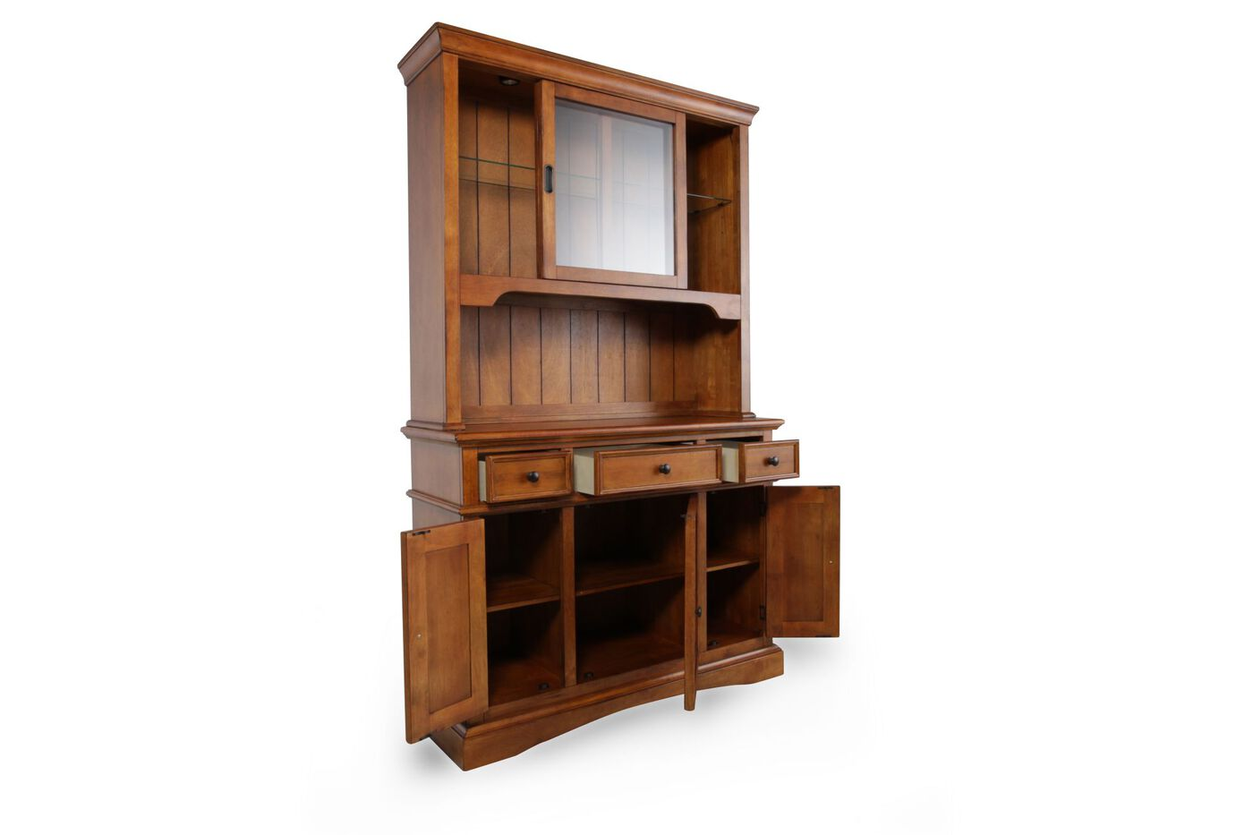 Vintage Oak 80 Touch Light Hutch And Buffet In Rich Brown