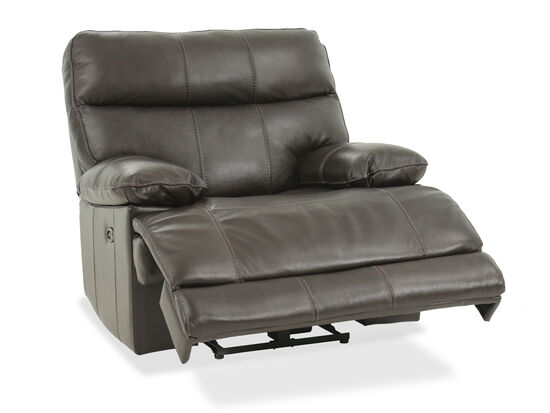 "Leather 44"" Power Reclining Chair in Brown"
