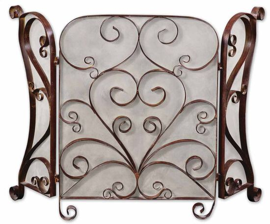 Hand-Forged Fireplace Screen in Cocoa Brown
