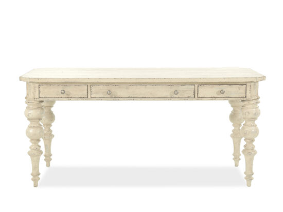 "66"" Traditional Turned-Leg Writing Desk in White"