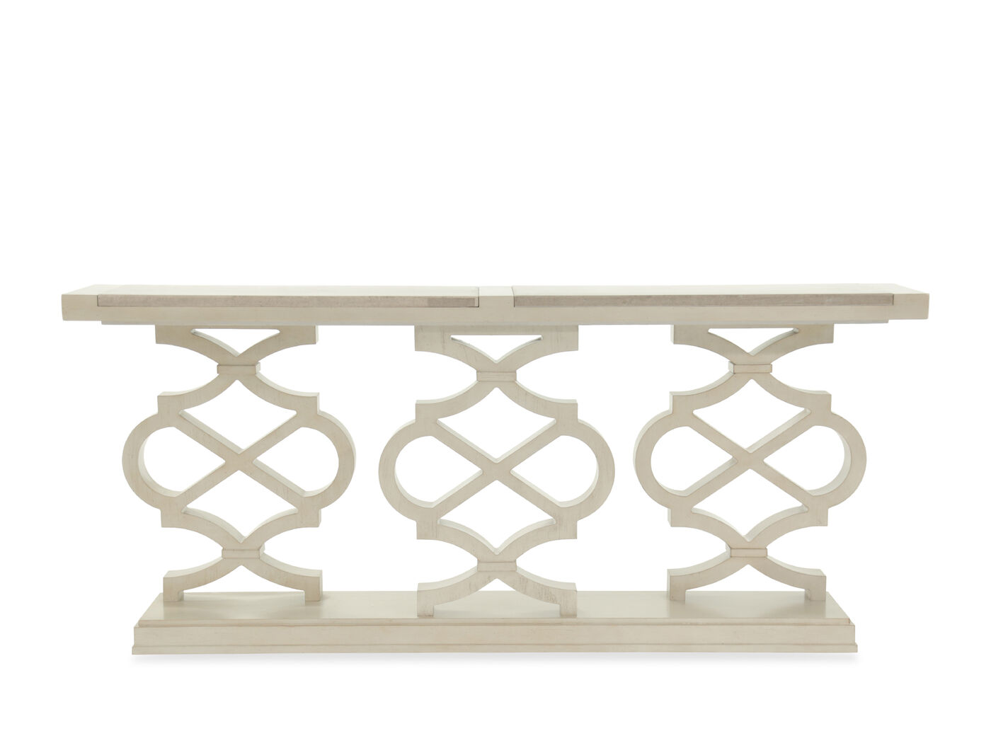 Pierced Pedestals Transitional Console Table In White Mathis  ~ Transitional Sofa Tables