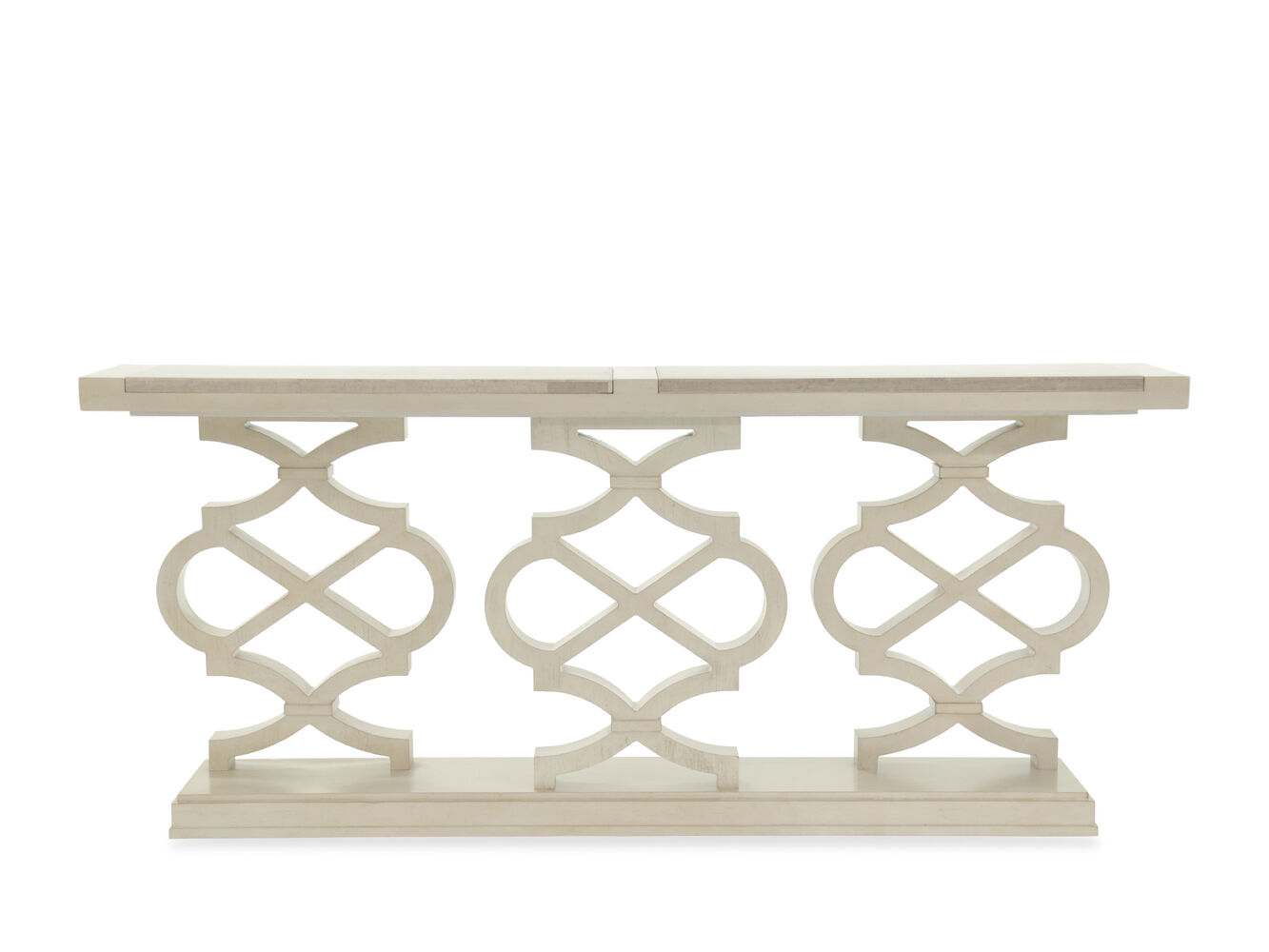 Images Pierced Pedestals Transitional Console Table In White