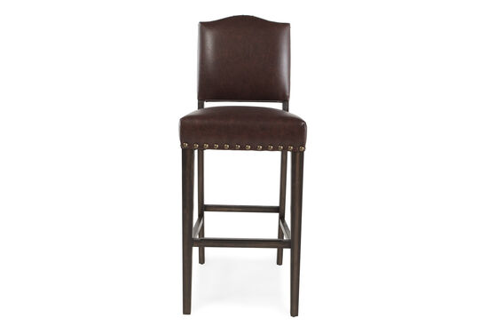 """Traditional 43"""" Nailhead Accented Bar Stool in Dark Brown"""