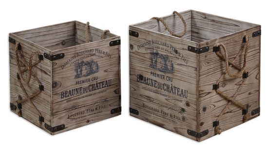 Two-Piece Rope Accented Crates in Brown