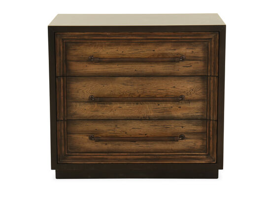 """29"""" Casual Aluminum-Wrapped Nightstand in Dark Wood"""