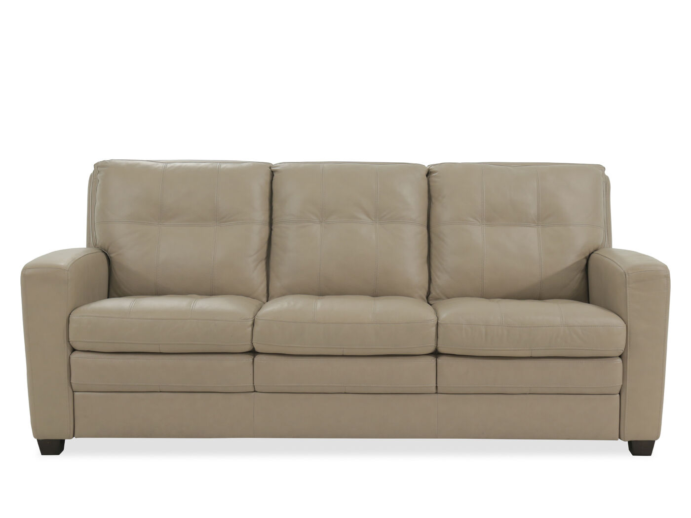 Leather Tufted 82 Quot Sofa In Beige Mathis Brothers Furniture