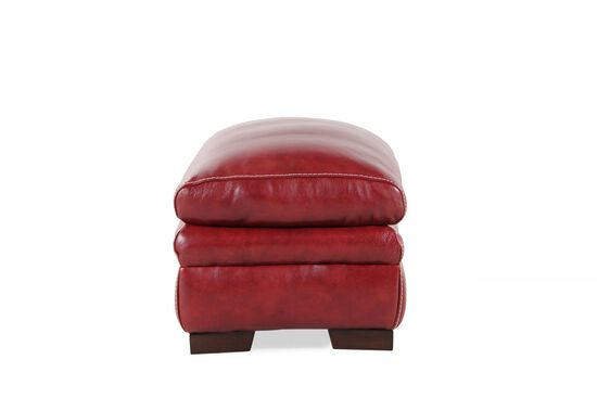 """Contemporary 31"""" Leather Ottoman in Red"""