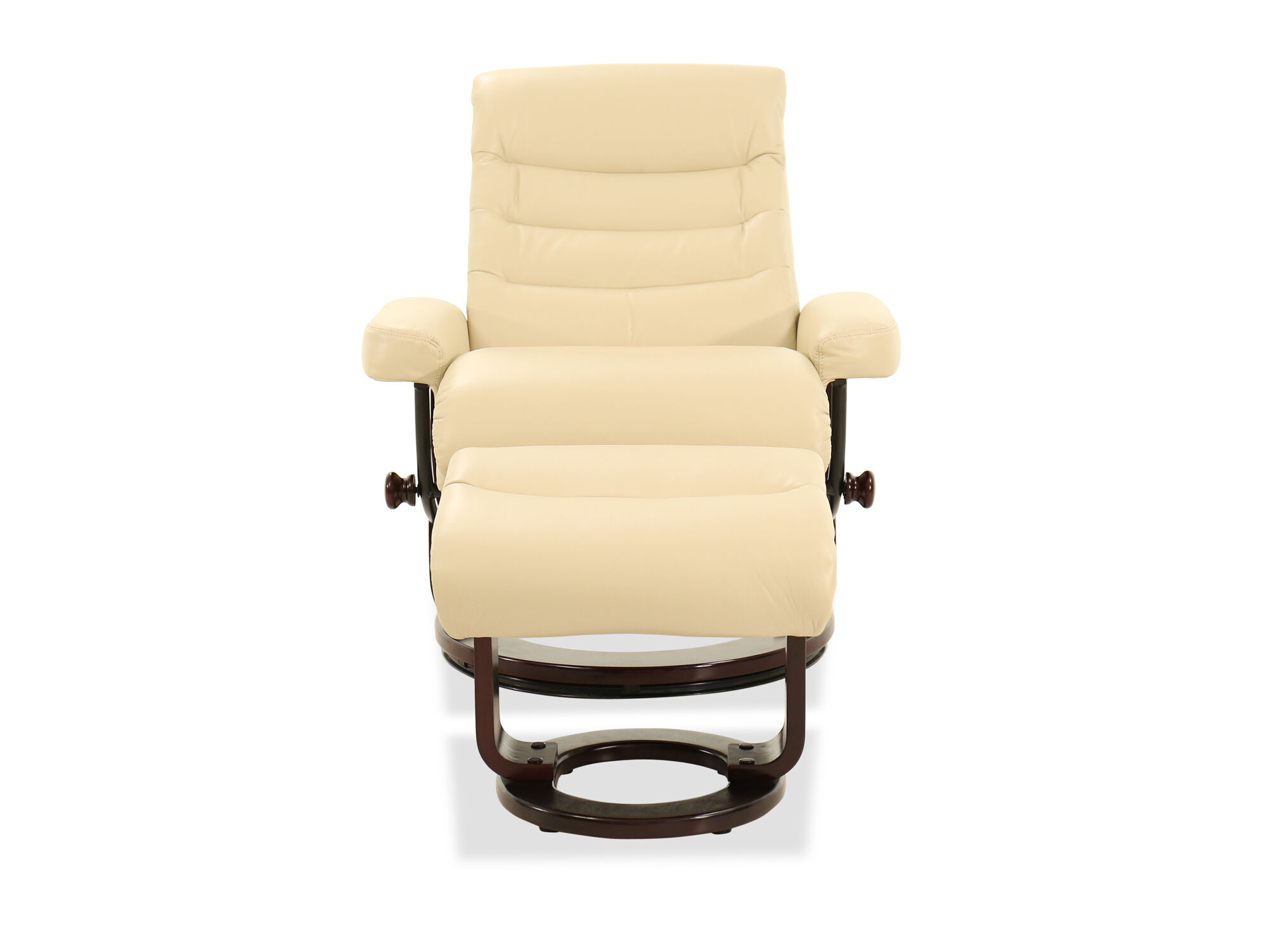 Quilted Leather Reclining Chair And Ottoman In Cream