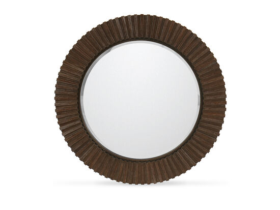 Traditional Ribbed Round Mirror in Clarendon Arabica