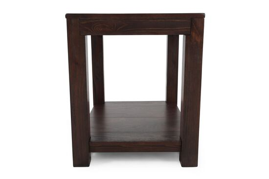 Casual Rectangular End Table in Dark Walnut