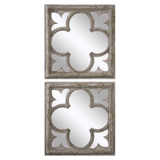 "Two-Piece 21"" Quatrefoil Accent Mirrors in Gray"