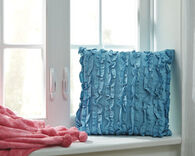 "Ruffled 16"" Square Pillow in Turquoise"