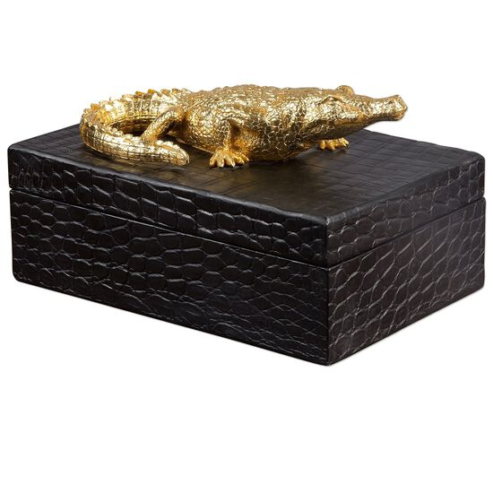 Textured Crocodile Box in Black