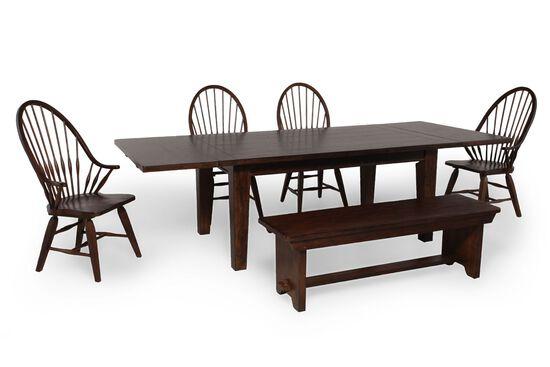 Six-Piece Solid Oak 108'' Dining Set in Rustic