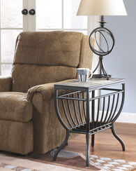 Contemporary Grilled Shelf End Table in Gunmetal