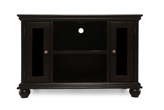 Glass Door Transitional Console in Matte Black