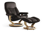 Contemporary Large Swivel Chair and Ottoman in Brown