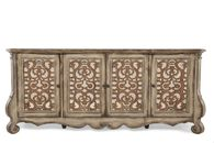 Scrolled Doors Transitional Credenza in Aged Pecan