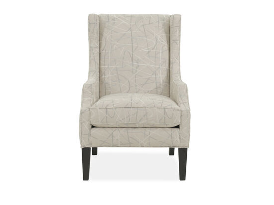 "Geometric Patterned Casual 29"" Wing Chair in Beige"