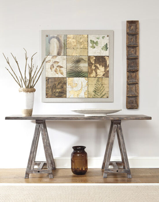 Trestle-Braced Casual Console in Light Brown