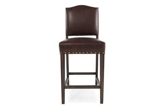 """Traditional 37"""" Nailhead Accented Bar Stool in Dark Brown"""