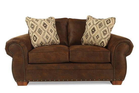 Nailhead Trimmed Microfiber 68 Loveseat In Dark Russet Brown Mathis Brothers Furniture