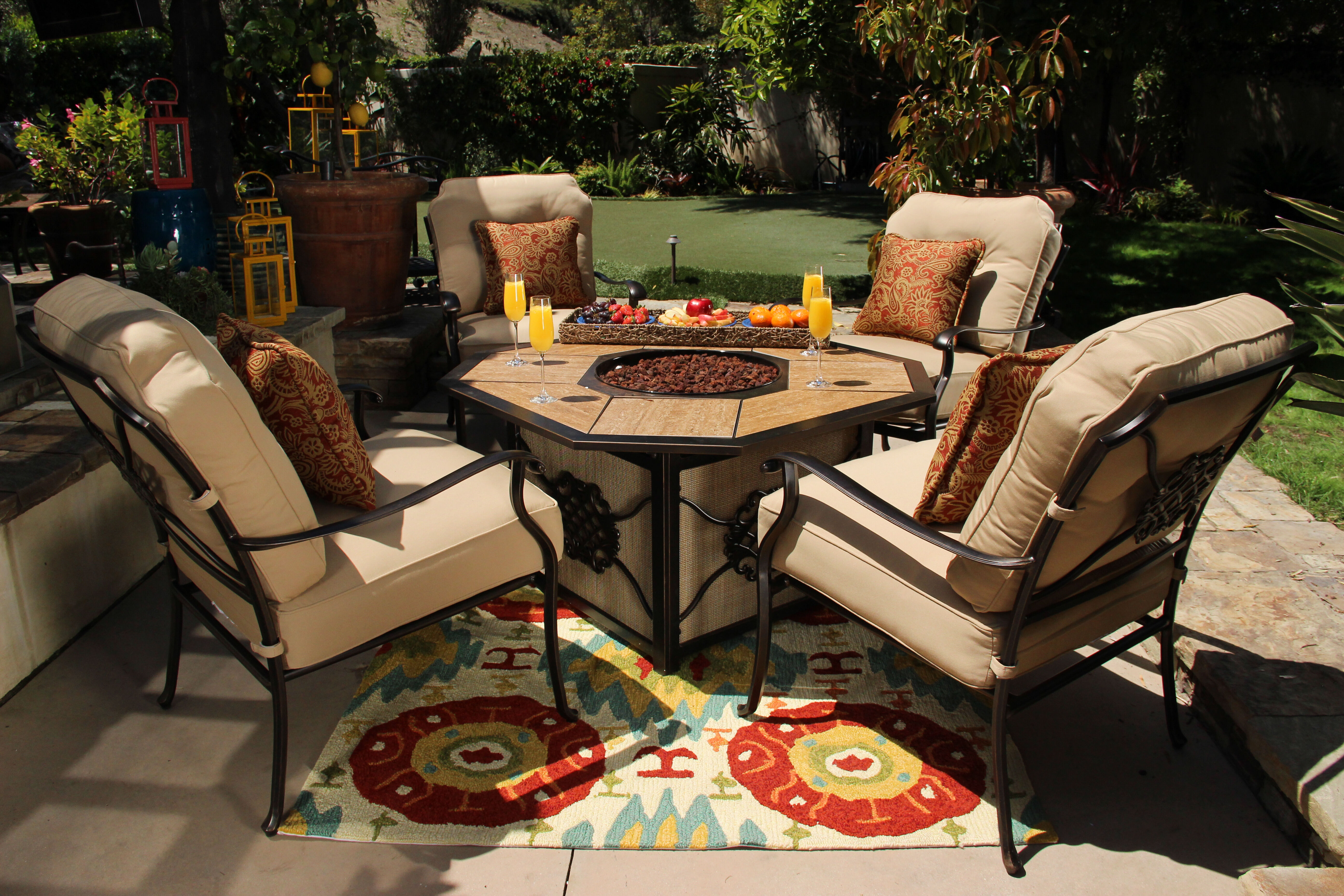 Contemporary Carved Fire Pit With Tile Inlayu0026nbsp ...