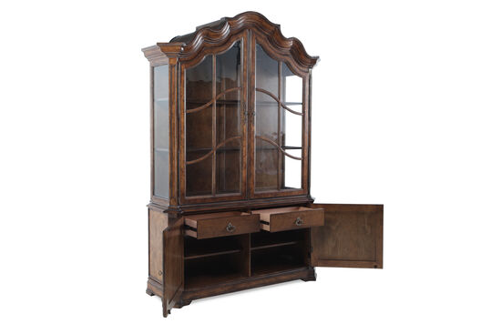 Continental Display China Cabinet in Dark Brown
