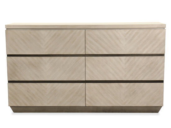 Six-Drawer Casual Dresser in Brown