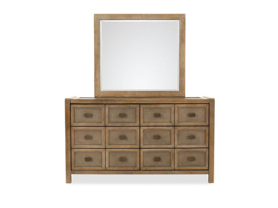 Casual Six-Drawer Dresser and Mirror in Brown