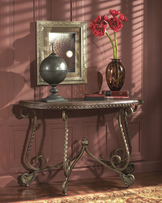 Scrolled Legs Traditional Sofa Table in Bronze