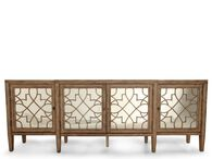 Filigree Insert Transitional Console in Distressed Brown