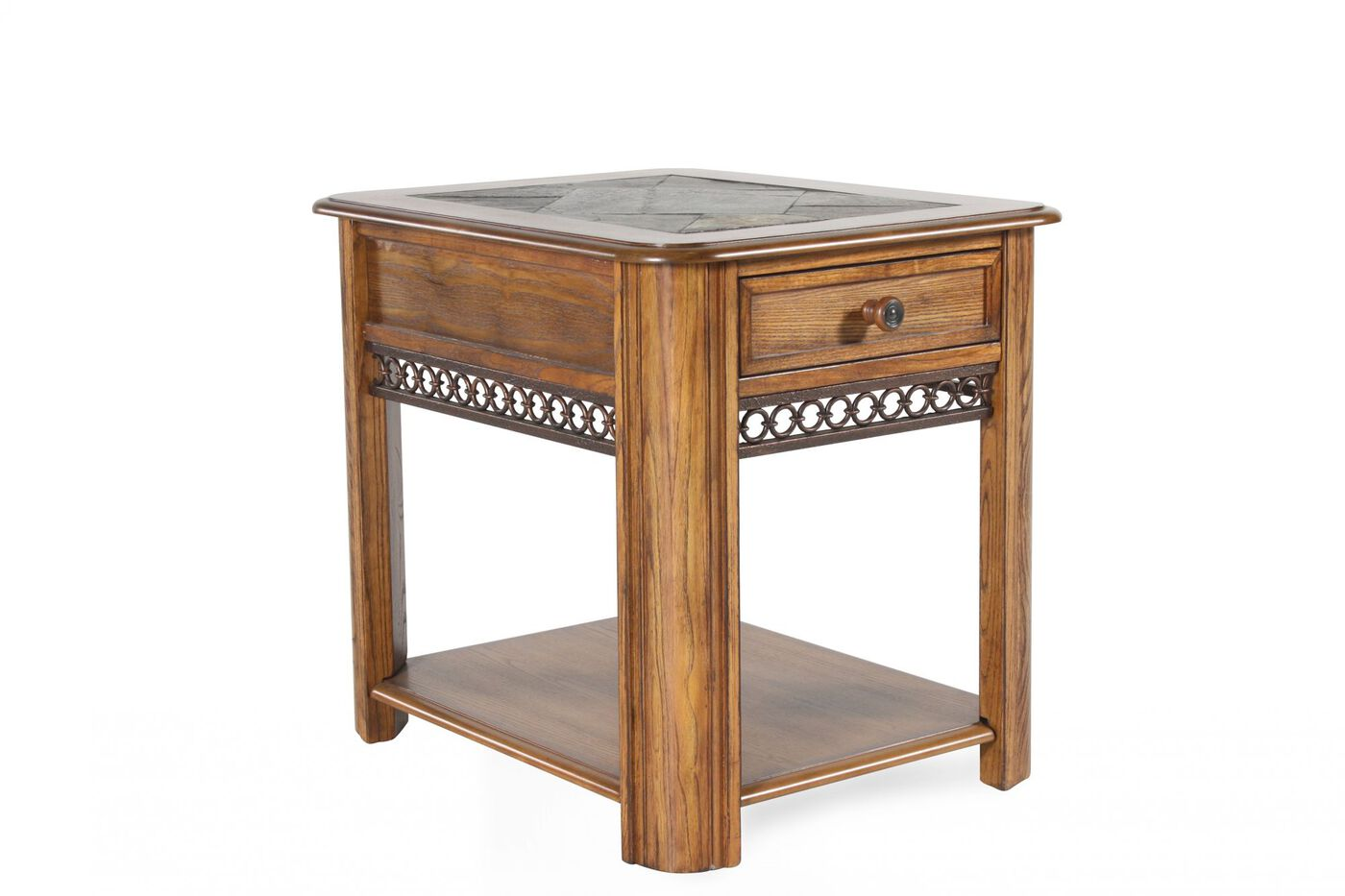 Traditional Slate-Inset End Table In Rustic Oak