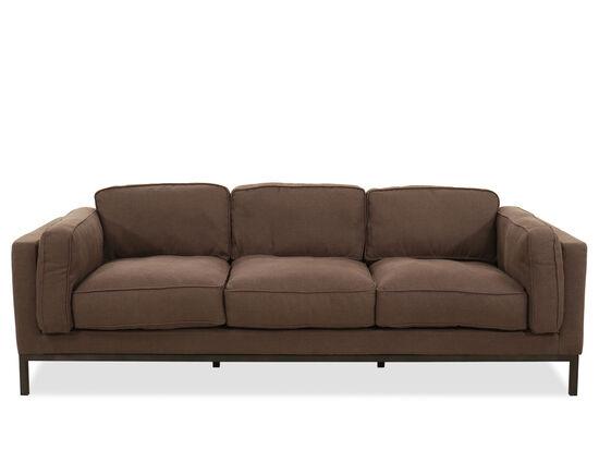 Low-Profile Three-Seater Sofa in Brown